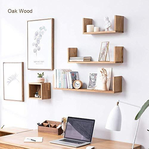 INMAN HOME Wooden Wall Shelves,1PCS Oak U Shaped Rustic Floating Shelves Hanging Bookshelf CD DVD Rack Display Decoration Wall mounted Picture Ledge Photos Awards Organizer