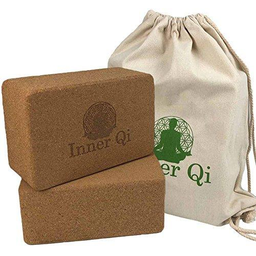 Inner Qi Cork Yoga Blocks (2 pack set) with FREE Carrying Bag - Use with or without a mat. Better than foam bricks. Best yoga and pilates exercise prop/accessory / equipment. Large. Eco friendly kit.
