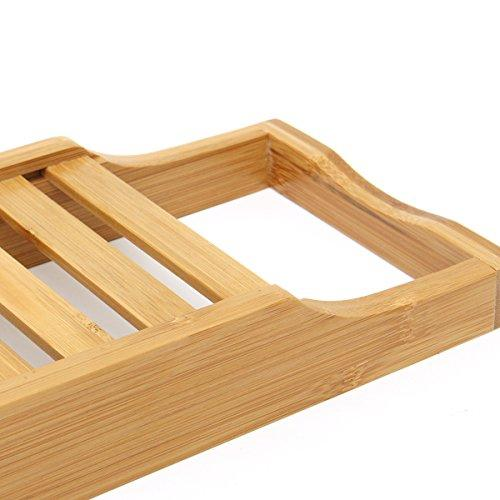 Inovey Bathroom Bamboo Bath Shelf Caddy Wine Holder Tub Tray Over ...