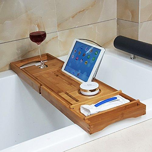 Inovey BX-816 Expandable Bamboo Bath Caddy Wine Glass Holder Tray ...