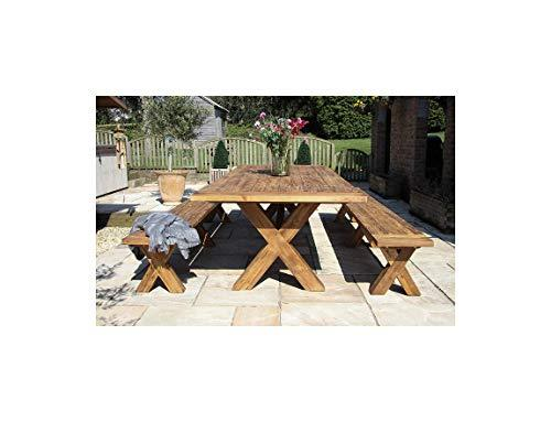 Inspiring Furniture UK Ltd 3m Reclaimed Teak Cross Leg Outdoor Dining Table with Two Backless Benches
