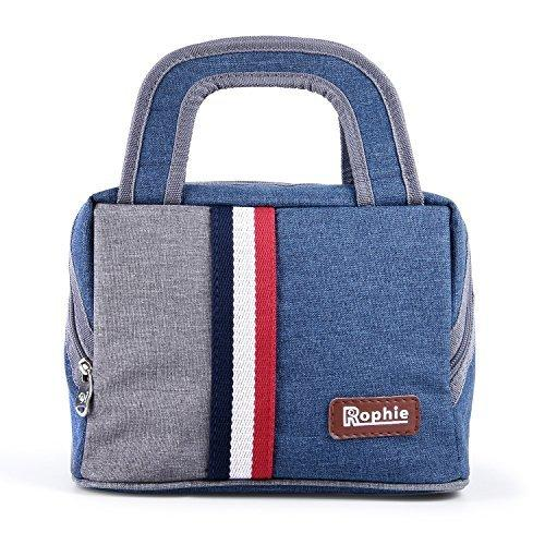 Insulated Lunch Bag,Rophie Reusable Outdoor Byo Lunch Bag Travel Picnic School Bento Large Lunch Box Tote Bag for Women, Men and Kids (7.5L)