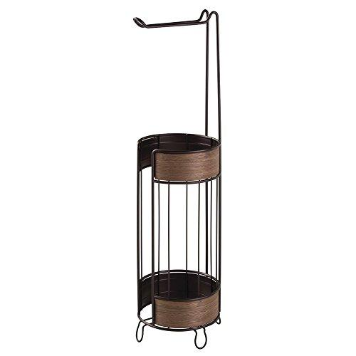 "InterDesign ""RealWood"" Free Standing Toilet Paper Holder for Bathroom, Steel, Bronze/Walnut Finish, 2-Piece"