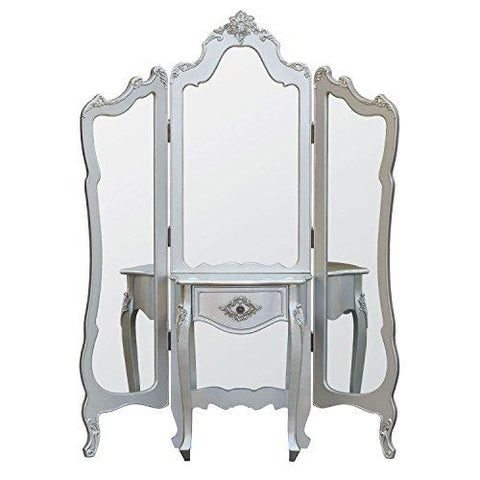 Interior Flair French Rococo Style Silver 3 Panel Mirror Screen with Dressing Table