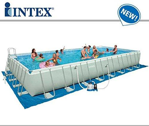 Intex 24Ft X 12Ft X 52In Ultra Frame Rectangular Pool Set with Sand Filter Pump