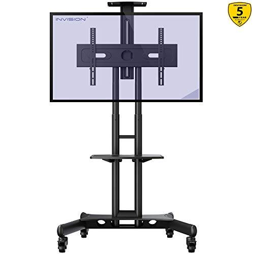 Invision GT1200 ScreenStation Mobile TV Stand Trolley Cart – Anti-Tip & Ultra-Stable – For 32-65 Inch HDR LED & LCD TV Screens - Heavy Duty - Non-Marking Castor Wheels - VESA 400 600 Bracket [GT1200]