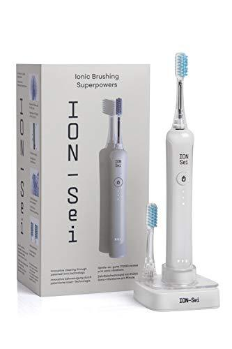 ION-Sei Sonic Electric Toothbrush | Free Dental Tape Included | Patented ion Technology | 3 Brushing Modes | Rechargeable | UK and EU Plugs (Day White)
