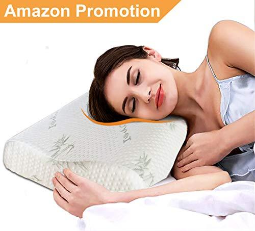 IOROU Cervical Contour Memory Foam Pillow- Standard Neck Pillow Cervical Massage orthopedic pillows,Deep Sleep Supportive Washable Hypoallergenic pillow(Standard Size)