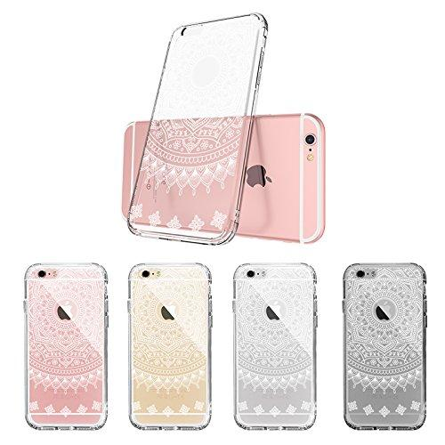 cheaper d7a5c d65db iPhone 6s Case, iPhone 6 Cover, MOSNOVO Girly White Henna Mandala Clear  Hard Case Design with Soft TPU Bumper Gel Protective Shockproof Back Phone  ...