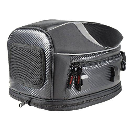 IPOTCH Motorcycle Bike Sports Back Seat Carry Bag Luggage Tail Bag Multifunctional Waterproof PU Leather Storage Tank Bag - Black#3