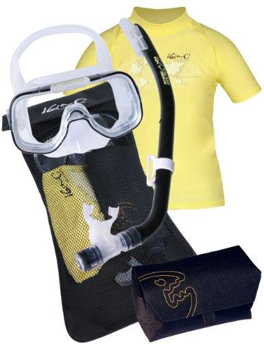 IQ-Company 300 Youngster By Tusa Children's Snorkelling Set with Mask/Snorkel-UV 300 Shirt Yellow/Black Yellow/Black - Yellow Size:158 cm