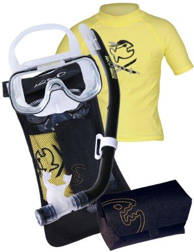 IQ-Company Children's Snorkelling Set with Mask/Snorkel-UV 300 Shirt Yellow/Black Yellow/Black - Yellow Size:8-9 ans