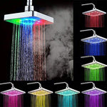IREALIST LED Shower Head 6 inch Rainfall Top Spray 7 Colors Gradual Changing Square Fixed Showerhead (Square, 7 Color)