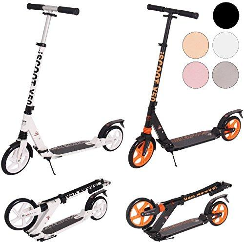 iScoot Ultimate X50 Jet Black Adult City Push Kick Scooter with Large 200MM Wheels, Dual Front and Rear Spring Comfort Suspension Folding Frame with Carry Strap - Easy to Carry Light Weight Aluminium