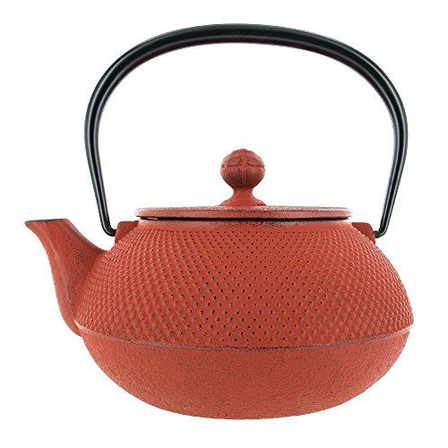Iwachu Cast Iron Tetsubin Teapot with Gingko Pattern in Brown & Gold