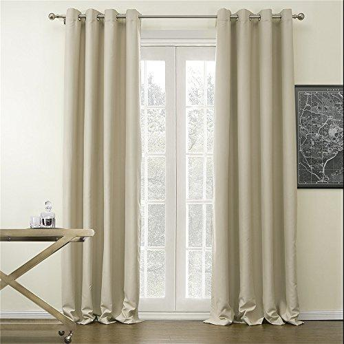"IYUEGOU Classic Solid Polyester Room Darkening Grommet Top Curtain Draperies With Multi Size Custom 72"" W x 84"" L (One Panel)"