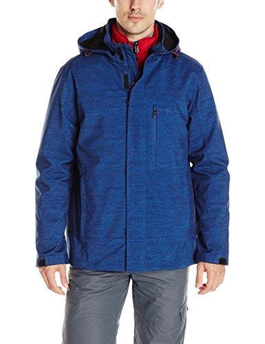 Izod Men's 3-in-1 Active Soft Shell Jacket with Removable Quilted Inner Jacket, Blue Melange, Small