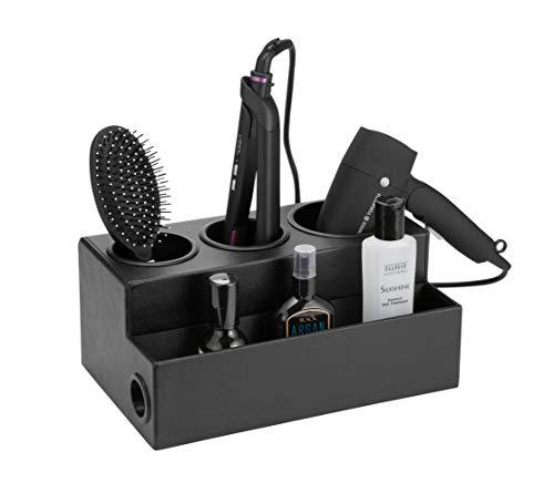 JackCubeDesign Hair Dryer Holder Hair Styling Product Care Tool Organiser Bath Supplies Accessories Tray Stand Storage Bathroom Vanity Countertop with 3 Holes(Black) – :MK154C