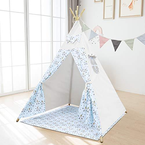 Jadlisea Teepee Tent for Kids, Indoor Outdoor Childrens Play Tent with Banner & Floor Mat & Carry Case, Cotton Canvas Tipi Wigwam, Foldable Indian Style Playhouse for Girls and Boys (Blue)