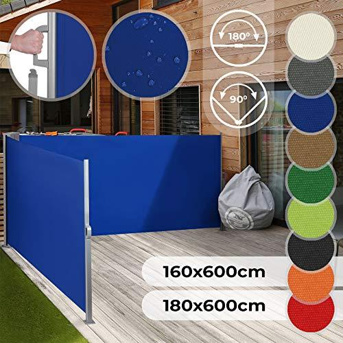 Jago Double Retractable Side Awning | Different Colours and Sizes 160x600cm, 180x600cm, UV Protection, Waterproof | Sunshade Screen Panel, Pull-Out Side Roller Blind, Privacy Screen, Wind Protector