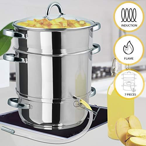 Jago Vegetables Fruit 15L Steam Juicer 3-Tier Steamer Stainless Steel with Glass Lid