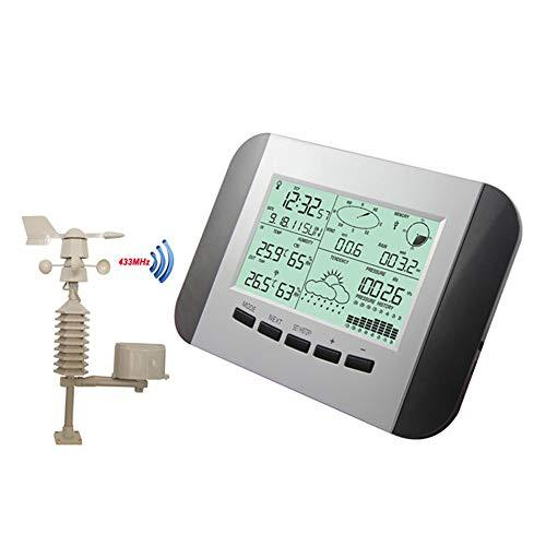 JAYLONG Wireless Weather Station, Digital Indoor Outdoor Temperature Humidity Thermometer Radio Controlled Weather Station Clock with PC Interface