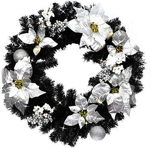 Jaymark Products Matching Black & Silver Christmas Garland Or Wreath Decorated With Pre-Lit LED Warm White Lights ... (Wreath)