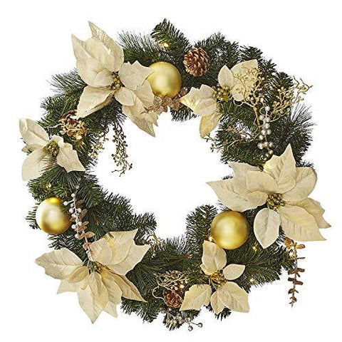 Jaymark Products Matching Gold Christmas Garland Or Wreath Decorated With Pre-Lit LED Warm White Lights (Wreath)