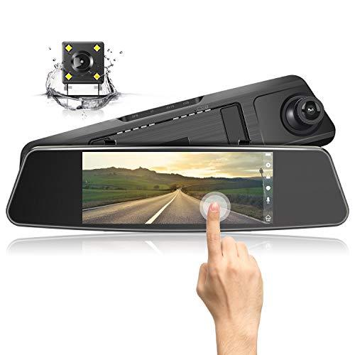 "Jeemak Mirror Dash Cam 1080P HD Dual Lens 7"" Touch Screen Wide Angle Dashboard Camera for Cars Front and Rear View with Waterproof Reverse Camera,Loop Recording,Parking Monitor"