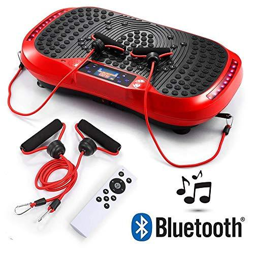 JERKEY Whole Body Vibration Machine Fitness Vibration Platform with Remote Control Platform Oscillation Bluetooth Speakers Ultimate Fat Loss Unique Design,Red
