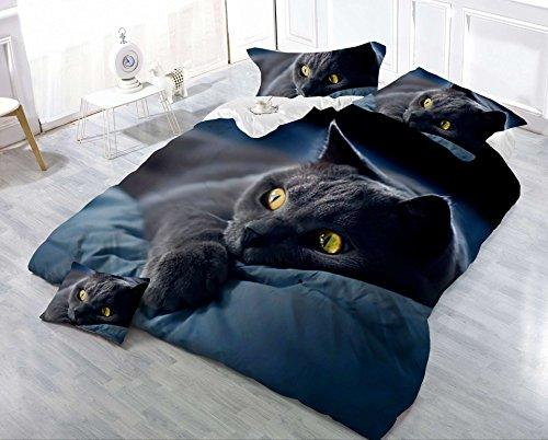 Jessie&Eleven J&E King Size 2018 New 3D Leopard Cat 4PCS Bedding Set Duvet Cover With Bed Sheet Pillowcases (Black Cat)