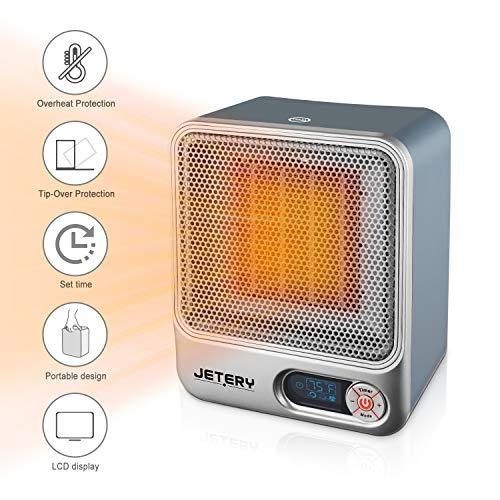 JETERY Space Heater Electric, Portable Ceramic Fan Heater for Home & Office, Small Fan Halogen Heater with Adjustable Thermostat-Overheat Protection, LED Dispaly, Timer, Silver