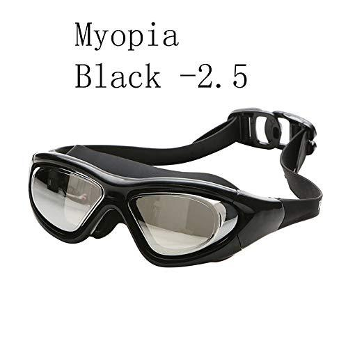 JGOLHJGKJ Goggles 2018 Swimming glasses Myopia -1.5~-8.0 Adult silicon big frame Diving goggles electroplate anti fog water Masks swim eyewear,Black -2.5