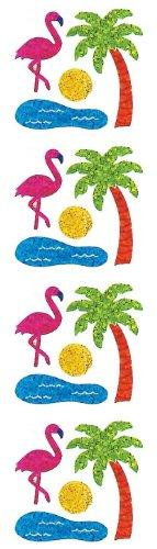 Jillson Roberts Prismatic Stickers, Mini Flamingo and Palm Tree, 12-Sheet Count (S7058)