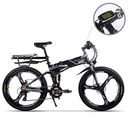 JIMAI RT-860 Mans Folding Electric Bike, Dual Suspension, 250 Watt 36V 21 Speeds, With foot Bike Air Pump, A Tool set, one piece mounting tool and Smart Bike Computer Speedometer Rear shelves