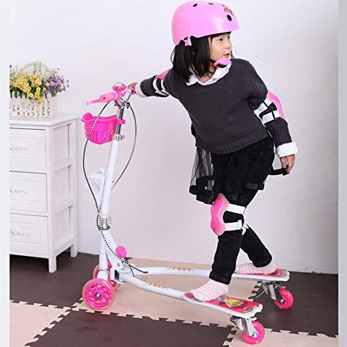 JIXIANG Kids' Scooters Frog Scooter Children Four-wheel Flash Double Brake Scissors Car Pedal Twist Car PU Wheel Kid Scooter Suitable For 4-6-12 Years Old,Pink