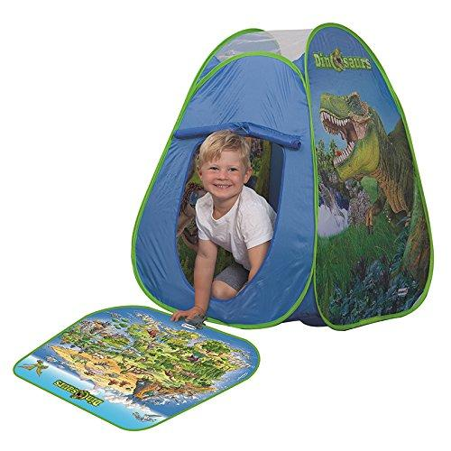 John 77072 Pop Up Play Tent Dinosaur with Play Mat and 2 Schleich Figures