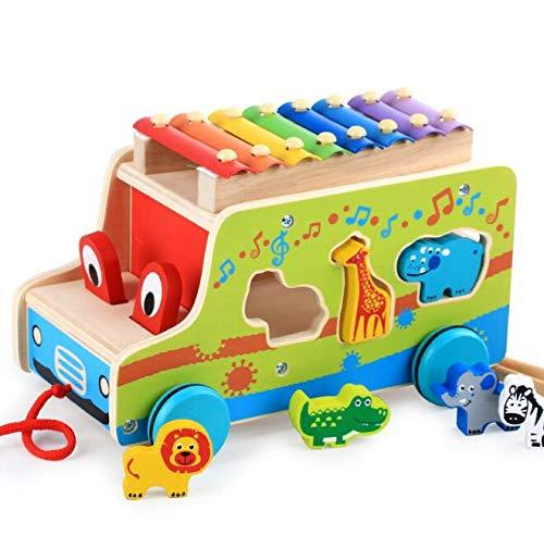 JOJOmay Baby's Exquisite Comfort Toy Multifunctional Xylophone Pull-along Toy Colorful Car Shape Toy Baby Music Learning Toy