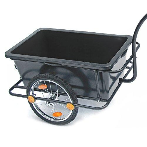 JOM Bicycle trailer, bike trailer, transport trailer 158 x 69 x 93 cm black, with plastic tub 90 liters, handle and coupling