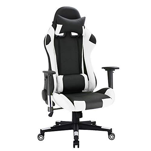 Joolihome Gaming Chair Office Chair Computer Desk Chair Executive and Ergonomic Racing Style High-back PU Leather Swivel Chair with Headrest and Lumbar Support white(Black Back)