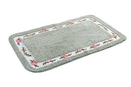JSJ_CHENG Bath Rugs Mats for Bathroom Bedroom Kitchen Non Slip Microfiber Rose Floral Rectangular, Rustic Home Decor (31.5-inch by 47.2-inch, Green)