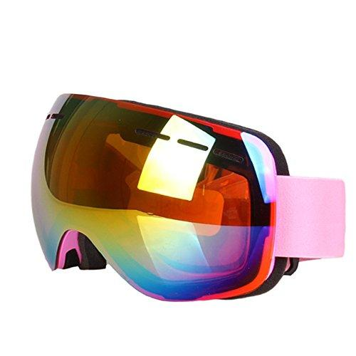 J.SPG Ski glasses Spherical Double layer PC anti-fog snow goggles Mountaineering Windproof Sand prevention Mountable myopia,Pink