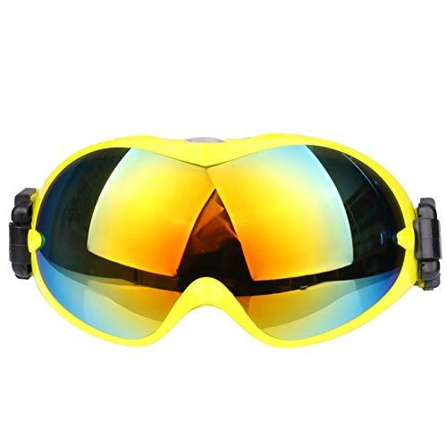 J.SPG Ski glasses Spherical Double layer PC anti-fog snow goggles Mountaineering Windproof Sand prevention Mountable myopia,Yellow