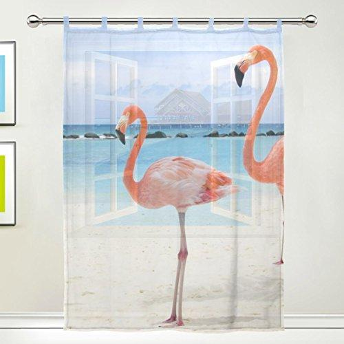 JSTEL Flamingo Pattern Floral Print Tulle Voile Door Window Room Curtain Drape 1 Panel Sheer Scarf Valances Wide Width Gauze Curtain for Bedroom 55 x 78 Inch, Single panel