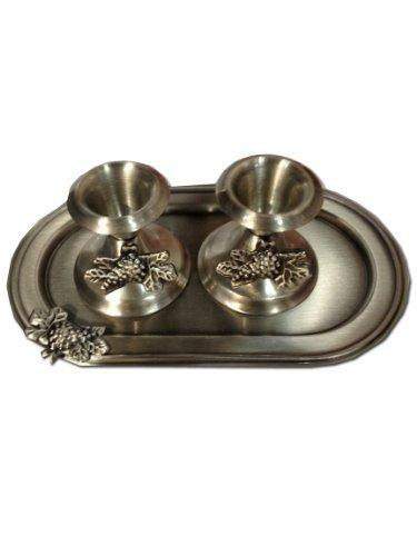 Judaica Shabbat Pewter Candlesticks with Tray by Legacy