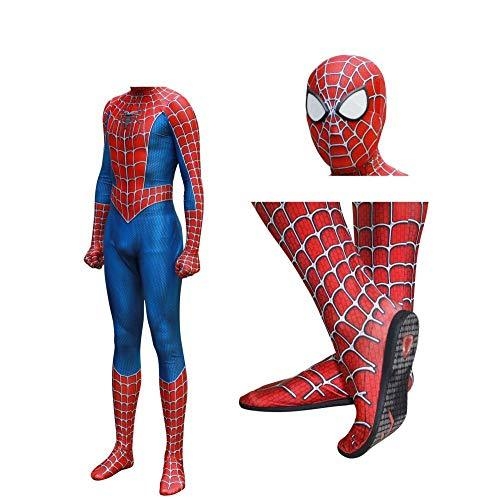 JUFENG Raimi Spiderman Kostuum Costume 3D Print Full Body Halloween Cosplay Suit Insole Lens Mask For Adult Kids Halloween Costume,A-M