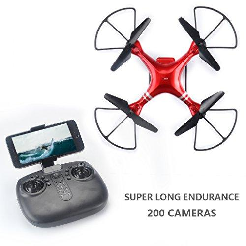 Jujuism Remote Control Drones 6-Axis Gyro RC Headless Quadcopter Helicopter Aircraft UFO Toys with HD Wifi Camera Live Video Mobile APP for Kids & Beginners (Red)