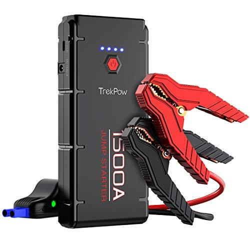 Jump Starter Pack 1500A Peak, Trekpow by ABOX Car Battery Booster Pro for 12V Heavy Duty Diesel & Van, Portable Lithium-ion Power Bank QC3.0 USB Quick Charger with Jumper Cable & Protective Box
