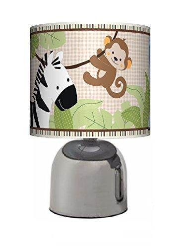 JUNGLE FRIENDS - BEDSIDE TOUCH LAMP - BABY BOYS / GIRLS BEDROOM LIGHT / LAMP SHADE - NURSERY - MAINS OPERATED (UK PLUG)