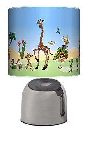 JUNGLE / ZOO / SAFARI ANIMALS - BEDSIDE TOUCH LAMP - BOYS / GIRLS BEDROOM LIGHT / LAMP SHADE - NURSERY - MAINS OPERATED (UK PLUG)